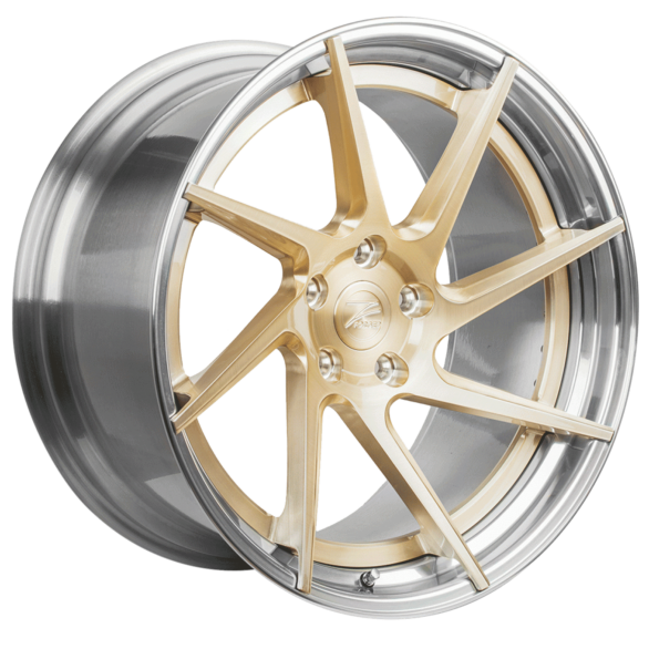 ZP.FORGED 3 Deep Concave Royal Gold Polished Lip - Z-Performance Wheels