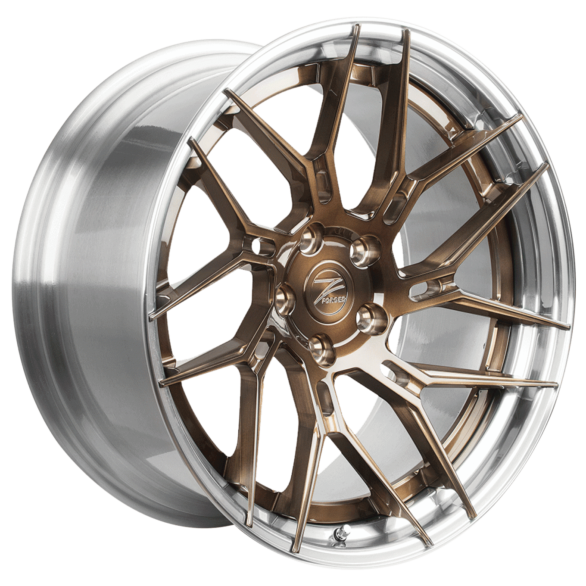 ZP.FORGED 5 Super Deep Concave Brushed Bronze Polished Lip - Z-Performance Wheels