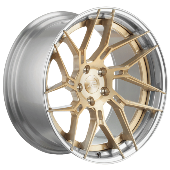ZP.FORGED 5 Super Deep Concave Royal Gold Polished Lip - Z-Performance Wheels