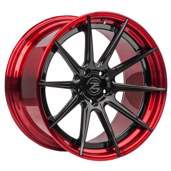 ZP.FORGED 1 Deep Concave Gloss Black Center Candy Red Lip - Z-Performance Wheels