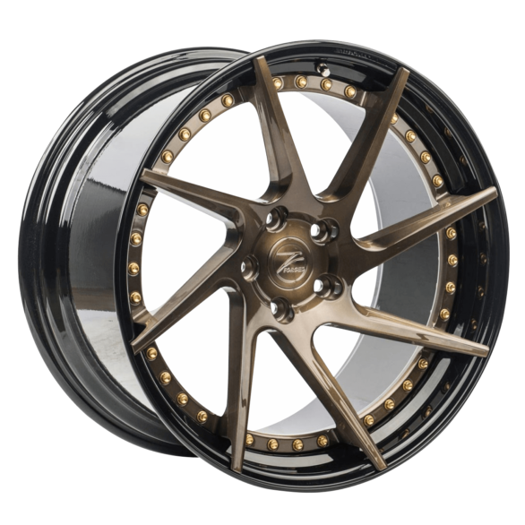 ZP.FORGED 3 Deep Concave Brushed Bronze Gloss Black Lip - Z-Performance Wheels
