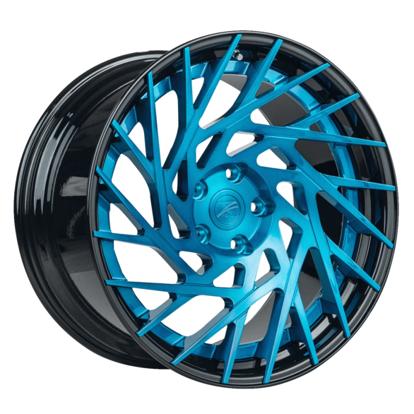ZP.FORGED 11 Deep Concave Brushed Blue Gloss Black Lip - Z-Performance Wheels