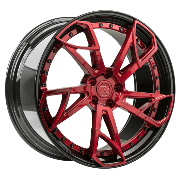ZP.FORGED 14 Deep Concave Apple Candy Red Gloss Black Lip - Z-Performance Wheels