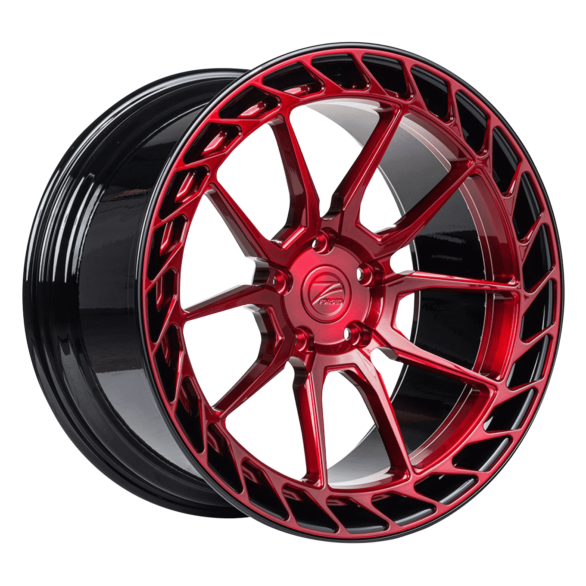 ZP.FORGED 22 Deep Concave Candy Red Gloss Black Lip - Z-Performance Wheels
